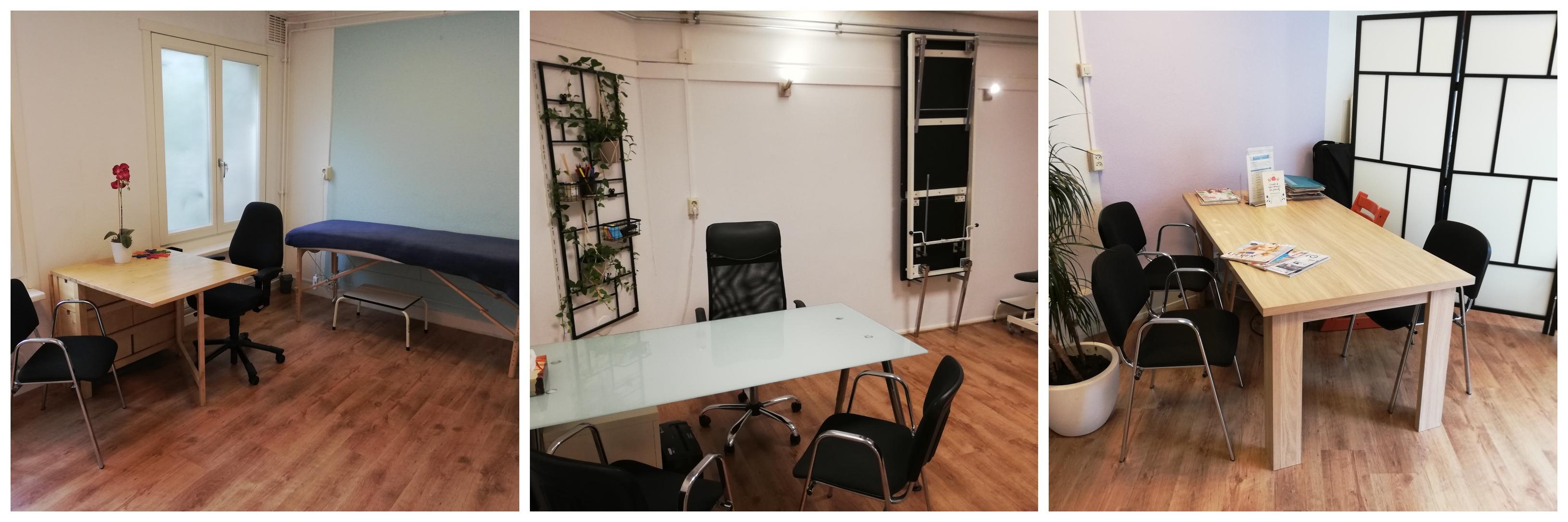 Collage van de 3 mooie praktijkruimtes van MCA Zuid